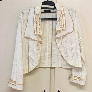 ME Made in France cream and Tan Flouncy Jacket